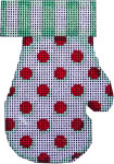 CT-1854 Mittens Stripes Dots Red/Mint  Associated Talents