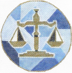 "H225 Melissa Prince 4"" round Scales of Justice Ornament"