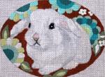 "B339 Melissa Prince 4"" x 5"" Oval White Bunny"