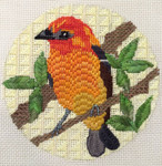 """B357 Melissa Prince 4"""" round Flame Colored Tanager"""