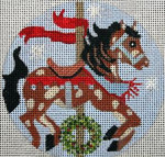 "A143 Melissa Prince 4"" Round Carousel Horse - Xmas"