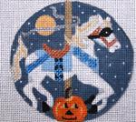 "A144 Melissa Prince 4"" Round Carousel Horse - Halloween"