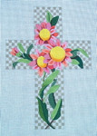 "Ann Wheat Pace 101AA Large Cross 18 Mesh 6.75""x 9""  Pink Daisy On taupe Check With Stitch Guide"