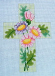 "Ann Wheat Pace 101AB Large Cross 18 Mesh 6.75""x 9"" Pink/Purple Floral on Green Tattersall With Stitch Guide"