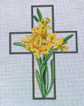 "Ann Wheat Pace 101AM Large Cross 18 Mesh 6.75""x 9"" Daffodils With Stitch Guide"