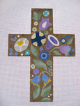 "Ann Wheat Pace 101AT  Large Cross 18 Mesh 6.75""x 9"" Deco Floral With Stitch Guide"