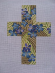 "Ann Wheat Pace 101BB Large Cross 18 Mesh 6.75""x 9"" Blue Violets With Stitch Guide"