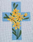 "Ann Wheat Pace 101c Large Cross 18 Mesh 6.75""x 9"" Yellow Daisy on Blue With Stitch Guide"