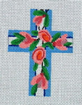 "Ann Wheat Pace 101f Large Cross 18 Mesh 6.75""x 9"" Pink Floral With Blue With Stitch Guide"