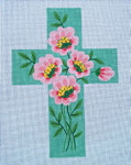 "Ann Wheat Pace 101g Large Cross 18 Mesh 6.75""x 9"" Pink Roses On Mint With Stitch Guide"
