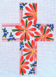 "Ann Wheat Pace 101h Large Cross 18 Mesh 6.75""x 9"" Coral Daisies and Forget-me-nots With Stitch"