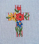 "Ann Wheat Pace 101k Large Cross 18 Mesh 6.75""x 9"" Multi Floral With Red Stripe With Stitch Guide"