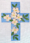 "Ann Wheat Pace 101q Large Cross 18 Mesh 6.75""x 9"" Dogwood On Blue With Stitch Guide"