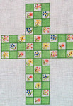"Ann Wheat Pace 101x  Large Cross 18 Mesh 6.75""x 9"" Flowers on Green Squares With Stitch Guide"