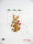 "19 MM Designs Mini Stocking 4"" x 6"" Brown Bunny & Holly"