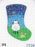 "113 MM Designs Mini Stocking 4"" x 6"" Lamb Looking Up at Star"