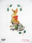 "117 MM Designs Mini Stocking 4"" x 6"" Two Bunnies & Holly"