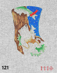 "121 MM Designs Mini Stocking 4"" x 6"" Bear Sleeping/ Cardinal & Fir Tree"