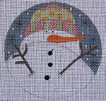 Ewe And Ewe EW-1168 Omament Snowman 4 1/4 Round 18 Mesh