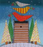 Ewe And Ewe EWE-454 Calico Stacked Birds@Mary Beth Baxter 8 1/4 x 8 3/4 18 Mesh