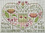 Ewe And Ewe EWE-466 Hearts & Flowers@Carriage House Samplings 10x7 13 Mesh