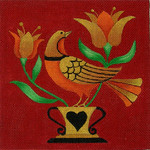 Ewe And Ewe EWE-323 Folk Bird 1@stephanie Stouffer/Ruth Levison Designs 7 x 7 18 Mesh