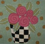 Ewe And Ewe EWE-369KB Flowers in Checkered Vase 8 x 8  13 Mesh