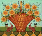Ewe And Ewe EWE-411  Spring Daffodils@Karen Cruden 12 x 8 3/8 18 Mesh