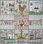 Ewe And Ewe EWE-423 Four Corners@Little House Needleworks 9 1/4 x 9 3/8 18 Mesh