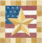 DENISE DeRUSHA DESIGNS DD-181 Gold Star Flag 8 x 8 18 Mesh