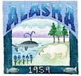 DENISE DeRUSHA DESIGNS DD-310 Alaska postcard 4 1/2 x 4 1/2 18 Mesh