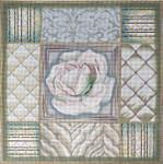 1061 White And Green Rose Collage 15 x 15 13  Mesh Lani Enterprises