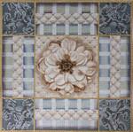 1062 Taupe & Blue Rose Collage 15x15 13 Mesh Lani Enterprises