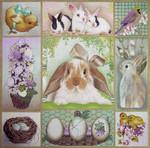 1045 Bunny Collage 15x15 18 Mesh Lani Enterprises