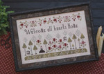 14-1408 Welcome All Hearts 225w x 141h Plum Street Samplers YT