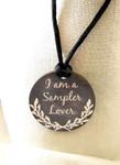"Necklace Sampler Lover 1.75"" round on a 28"" satin cordingKelmscott Designs"