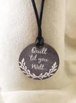 """Necklace Quilt 'til you Wilt 1.75"""" round on a 28"""" satin cording Kelmscott Designs"""