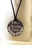 "Necklace Primitive Lover 1.75"" round on a 28"" satin cording Kelmscott Designs"