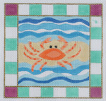 BB06 Crab BB Needlepoint Designs 13 Mesh  w/border 7 x 7
