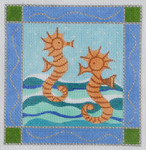 BB08 Seahorse BB Needlepoint Designs 13 Mesh  w/border With Stitch Guide
