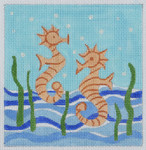 BB07 Seahorse BB Needlepoint Designs 13 Mesh 6 x 6 With Stitch Guide