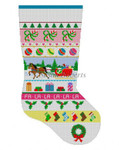 "0121 Sleigh Ride Stripe, stocking 13 Mesh Susan Roberts Needlepoint 19"" h"