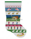 "0124 Nativity Stripe, stocking #13 Mesh 19"" h Susan Roberts Needlepoint"