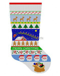 "0123 Sleigh Over Roof Top Stripe, stocking #13 Mesh 19"" h Susan Roberts Needlepoint"