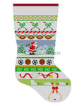 "0122 Sports Equipment Stripe, stocking 13 Mesh Susan Roberts Needlepoint 19"" h"