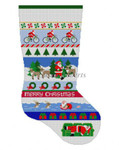 "0132 Triathlon Santa Stripe, stocking #13 Mesh 19"" h Susan Roberts Needlepoint"