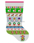 "0103 Caroler Stripe Stripe, stocking 13 Mesh Susan Roberts Needlepoint 19"" h"