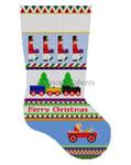 "0150  Bold Stripe Drummers & rrain. stocking #13 Mesh 19"" h Susan Roberts Needlepoint"
