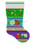 "0152 Bold Stripe Lights, Poinsettias, Presents, stocking 13 Mesh 19"" h Susan Roberts Needlepoint"