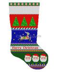 """0153 Bold Stripe, Reindeer ln Stars, Santa Face, stocking 13 Mesh 19"""" h Susan Roberts Needlepoint"""